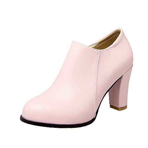 toe Korkokenkiä Vetoketju Pu Solid kengät Naisten Weipoot Pinkki Pyöreä Pumput wqZR1TXI