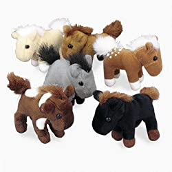Fun Express FNEIN-6/934 Bulk Plush Horses, 1 Dozen, 3 Inches, Assorted Colors