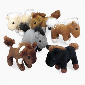 Fun Express FNEIN-6/934 Bulk Plush Horses, 1 Dozen, 3 Inches