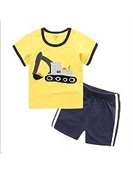 Captain Meow Boys' Short Sleeve Clothing Set T-shirt And Short Pants Excavator