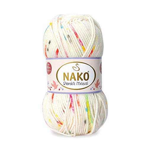 Yarn for Baby Blankets Soft Acrylic NAKO Renkli Masal 100% Anti-Pill Acrylic Yarn for Crochet, Knitting & Crafting Lot of 4skn 400gr 720yds Color Print 32096