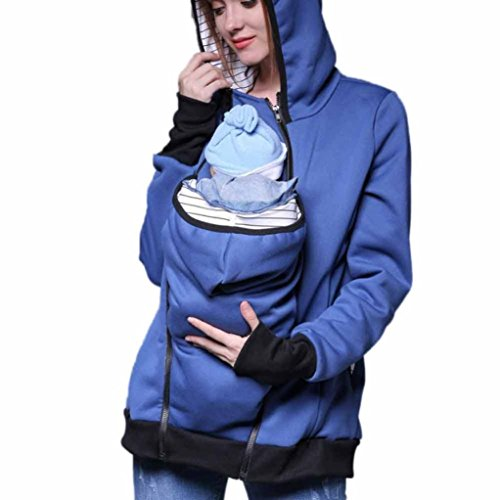 Women Blouse ,IEason Baby Carrier Jacket Kangaroo Winter Maternity Outerwear Coat Pregnant (L, Blue)