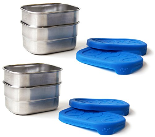 ECOlunchbox Blue Water Bento Splash Pod - Leak-proof Stainless Steel and Silicone Snack Container - Set of 4 (Pod Container)