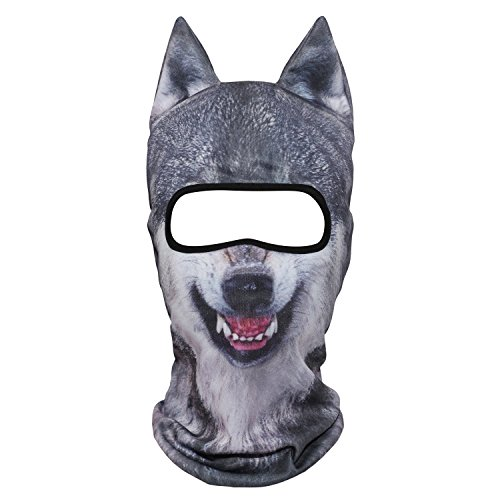 WTACTFUL 3D Animal Ears Balaclava Breathable Windproof Face Mask Protection for Skiing Snowboard Cycling Motorcycle Music Festivals Raves Halloween Party Cosply Outdoor Coyote Gray Wolf -