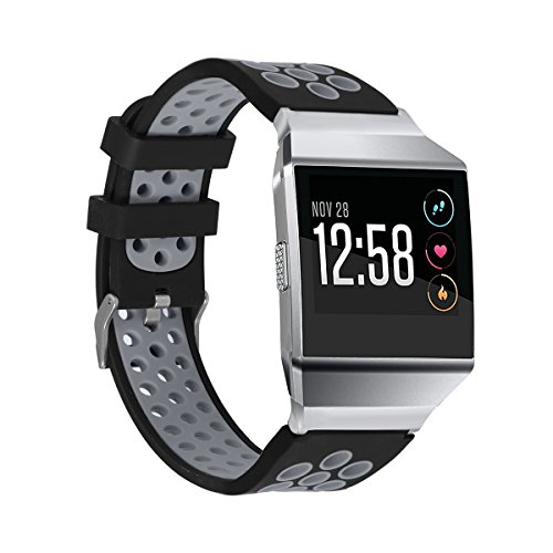 bayite Soft Silicone Sport Bands Compatible Fitbit Ionic Replacement Band Perforated Breathable Accessories Wristband Women Men Black with Gray