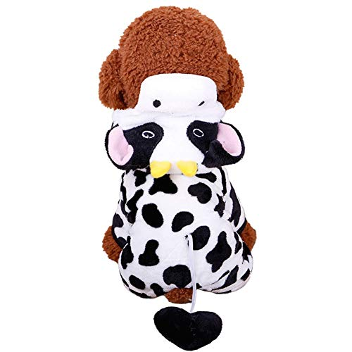 Adarl Winter Warm Pet Dress Up Costumes Dog Jumpsuit Coat Colothes Soft Fleece Hoodies Milk Cow Apparel for Puppy Dog Cat White/S