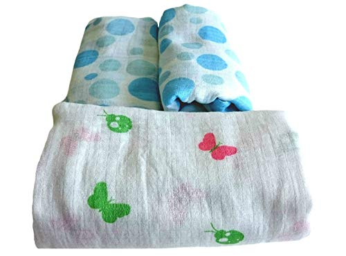 Baby Muslin Swaddle Blankets | 2 Large Baby Swaddle - Soft 100% Cotton | Muslin Swaddling Blankets