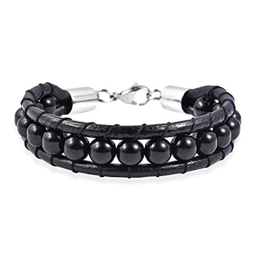 Shop LC Delivering Joy Handmade Stainless Steel Round Beads Bracelet for Mens Jewelry Size 9