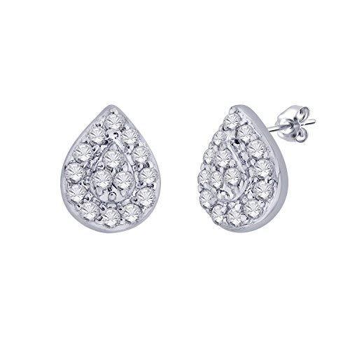 - IGI Certified Pear Drop Shape Halo Natural Diamond Frame Stud Earrings in 10kt White Gold (0.12 Cttw)