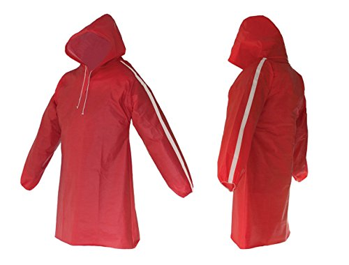 Waterproof Rain Poncho for Men & Women by AllWeatherWare – Lightweight, Breathable Rain Gear Pullover – Reusable & Foldable Adults Coat - Ideal For Outdoors & Sports Events | Red, (Red Poncho)