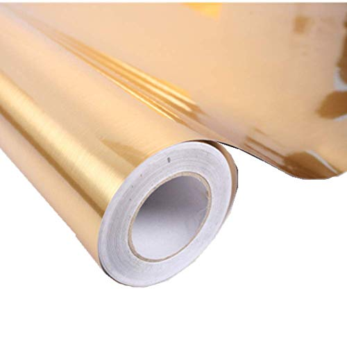 REDODECO Metal Look Contact Paper Film Vinyl Self Adhesive Waterproof Anti Greasy Counter Top Peel Stick Metallic Gloss Shelf Liner for Kitchen Cabinet,24''x78'' (Gold)