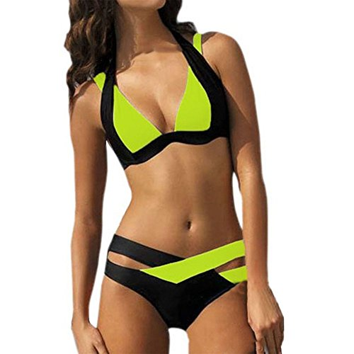 Pinkyee Women's Bikini Plug Size Colors Joint Swimsuits Fluorescent Green X-large