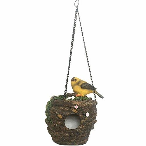 House Dragonfly Bird (BECOR Hanging Birdhouse Outdoor Garden Patio Yard Decorative Pet Cottage Hand Painted Resin Bird House, Yellow)