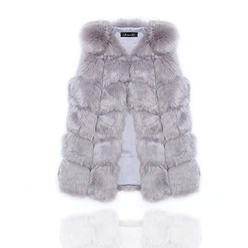 Edary Women Faux Fur Vest Black Vintage Warm Waistcoat Sleeveless Jacket (XL, Grey) ()