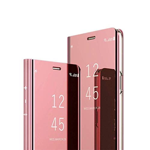 Samsung Galaxy J7 Prime case Design Clear View Slim Luxury Shiny Electroplate Plating Protective Flip stand Cover for Samsung Galaxy On7 2016 & J7 Prime SM-G610 PU Mirror:Rose Gold MX