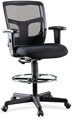 Lorell LLR86801 Ratchet Mesh Mid-Back Stool Chair 2.6″ Height X 75.8″ Width X 27.3″ Length Black
