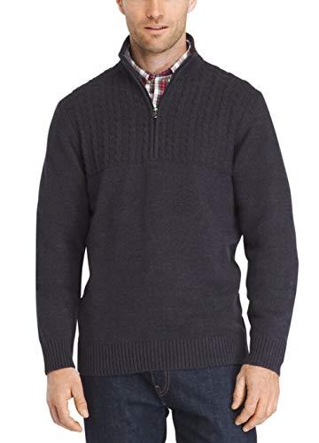 IZOD Men's Newport Cable Knit Quater-Zip Pullover Sweater (Black, XXL)