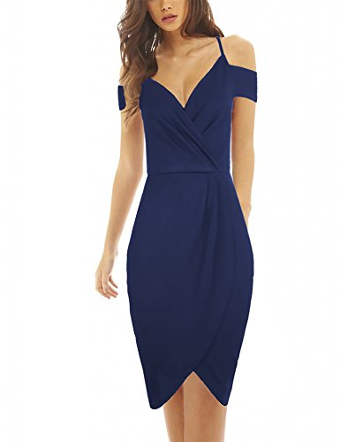 Draped Cocktail Mini Dress (HiQueen Women's Classic V-Neck Cold Shoulder Asymmetrical Draped Ruched Pure Color Halter Mini Cocktail Party Dress)