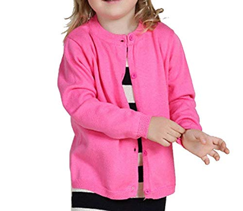 Little Girls Cute Crew Neck Button-Down Solid Fine Knit Cardigan Long Sleeve Sweaters