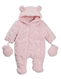 Babies Feather Look Pram Suit with Detachable Mittens ~ Newborn to 9 Months