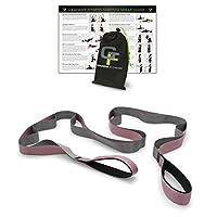 Gradient Fitness Stretching Premium Quality Multi-Loop Strap, Neoprene Padded Handles, 12 Loops, Pink and Grey