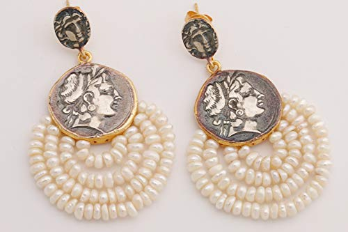 Turkish Handmade Jewelry Greek Style Baroque Round Cut Pearl 925 Sterling Silver Drop/Dangle Butterfly Claps Type Earrings