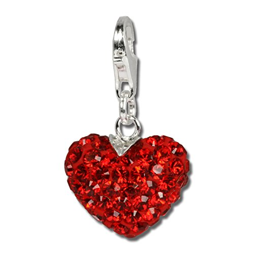 SilberDream Glitter Charm Swarowski Elements fiery heart, red shiny 925 Sterling Silver Charms Pendant for Charms Bracelet, Necklace or Earring GSC304
