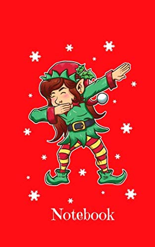 (Notebook: Dabbing Christmas Elf On Red Background - Blank Wide Ruled Line Paper 50 pages/25 sheets 5