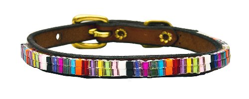 Just Fur Fun Dog Collar, Candy Shop, 14-Inch, Brown Leather