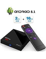 Android 9.0 TV Box, A5X Plus Mini 4K Full HD Smart TV Box Equipado con RK3328 Quad Core 2GB RAM 16GB ROM 2.4GHz WiFi 100M LAN Ethernet