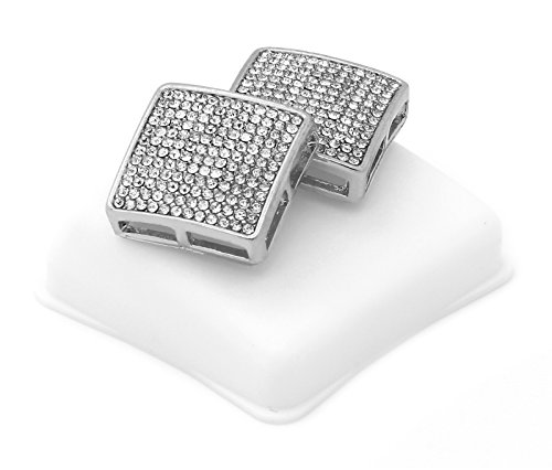- Mens 12 Rows Silver Tone Clear CZ Micro Pave Dome Square Earrings D12