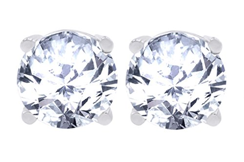 - 14k Yellow, White or Rose Gold Basket Set Cubic Zirconia Stud Earrings