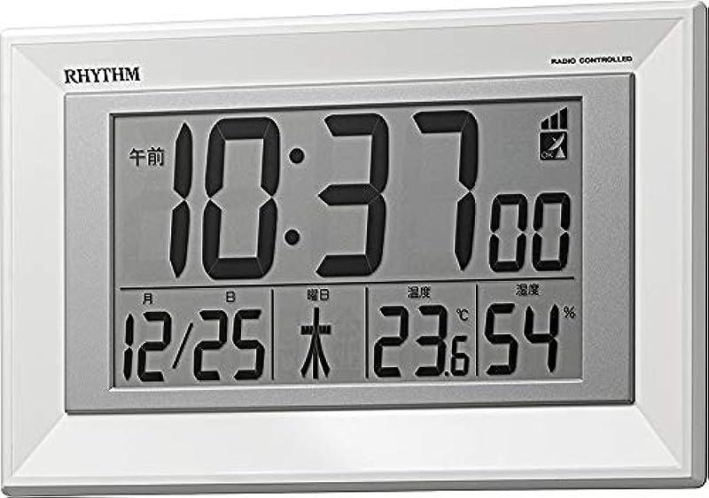 리듬 시계 공업 벽시계백 16.4x25.5x2.9cm 전파 디지탈 두어 걸이 겸용 온도 습도 캘린더 8RZ204SR03