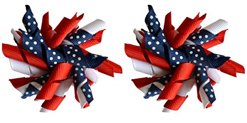 Korker Hair Bow Set for Girls (2) 2.5 Inch Hair Bows by Funny Girl Designs (USA Colors)