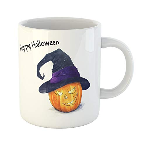 Tarolo 11 Oz Mug Coffee Mug Ceramic Tea Cup Brown Autumn Halloween Pumpkin Sketch on White Orange Candle Delicious Draw Evil Large C-handle Family and Office Gift]()