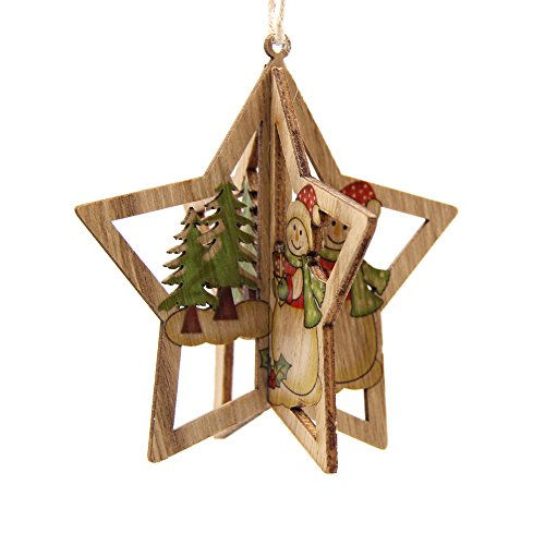 - WestLakeWater 3Sets 3D Creative Christmas Wooden Pendants Ornaments DIY Star&Heart Christmas Party Decorations Xmas Tree Ornaments Kids Gift Star Snowman Tree