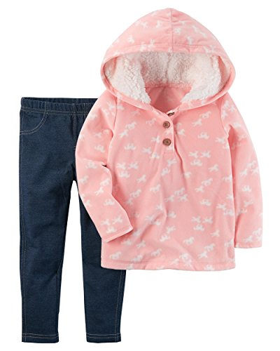 Carters Girls 2T-5T 2 Piece Faux Sherpa Hoodie And Leggings Set (2T, Pink Horses)