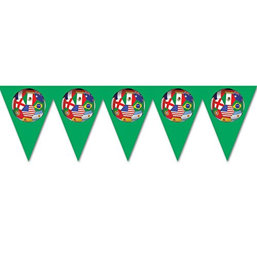 Pack of 6 Multi-Colored International Sports Soccer Themed Pennant Banner Party Decorations 7.4' by Party Central