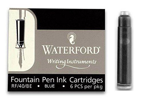 Waterford Blue Fountain Pen Ink Cartridges - Carton (10 p...