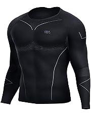 Souke Sports Heren Compressie Shirt Lange Mouw Top Workout Fitness Hardlopen Fietsen Compressie Basislaag Shapewear Shirt