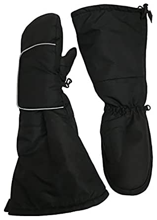 N'Ice Caps Kids Easy-On Wrap Elbow Length Winter Waterproof Thinsulate Mittens - Black - 2-3 Years