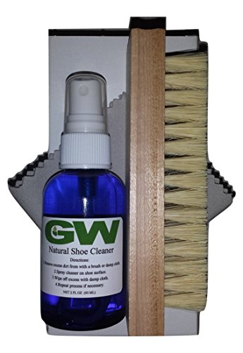 GW Deluxe Shoe Cleaner and Foot Odor Eliminator Kit with Deodorizer Spray, Premium Wooden Brush and Microfiber Cloth - Best For All Shoes, Boots, Golf Shoes, Tennis Shoes, Leather, and Suede Shoes from GW