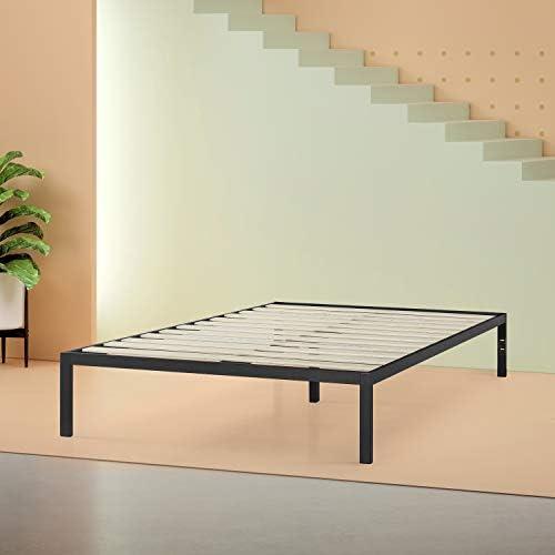 Zinus Mia Modern Studio 14 Inch Platform 1500 Metal Bed Frame / Mattress Foundation / No Box Spring Needed / Wooden Slat Support / Good Design Award Winner / Black, Queen 41IuCgCDPQL