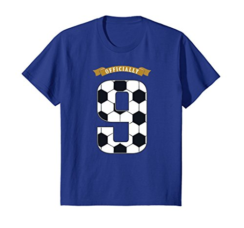 Kids Birthday Shirt 9 years old kid tee - All Numbers Soccer 10 Royal (Old Soccer Shirts)