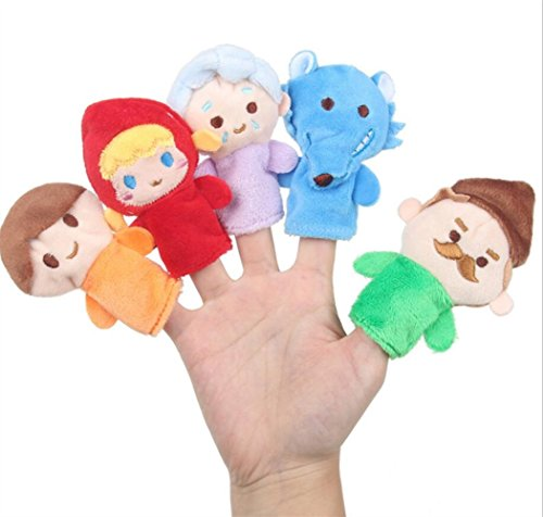 (Cute and Fun 5 Pcs Soft Educational Hand Puppet Set Story Dolls Toys for Baby and Toddlers(Little Red Riding Hood))
