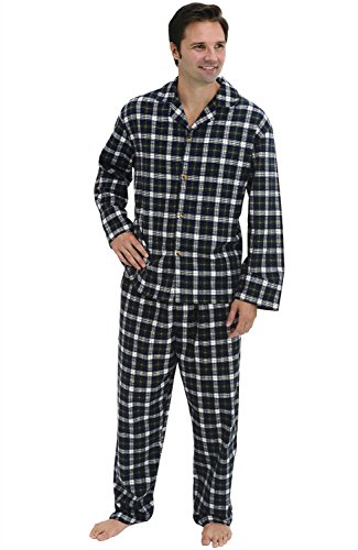 Del Rossa Men's Flannel Pajama Set, Long Cotton Pjs