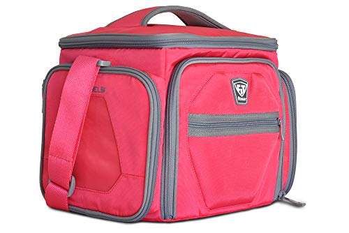 Fitmark Shield Pink Meal Prep Insulated Bag with Portion Control Meal Containers, Reusable Ice Packs, and Vitamin Container