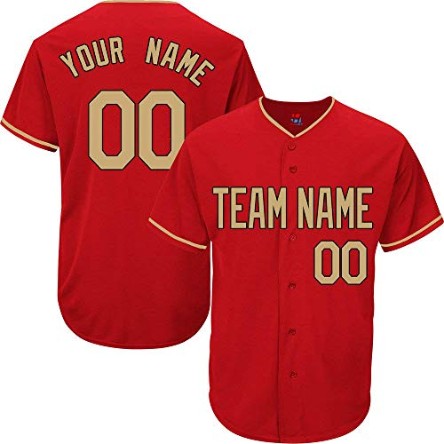 Red Custom Baseball Jersey for Men Women Youth Practice Embroidered Gold Black