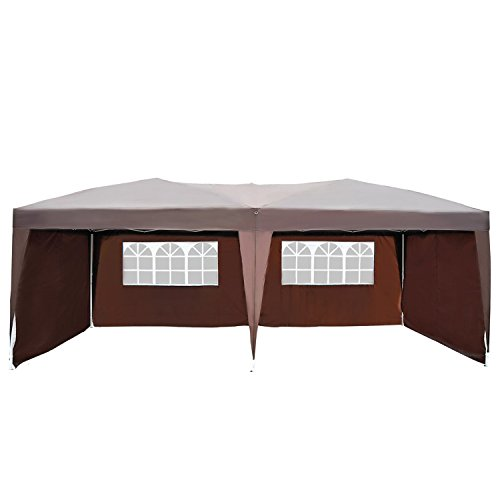 Outsunny 10' x 20' Pop Up Canopy Party Tent with 4 Removable Sidewalls - Brown