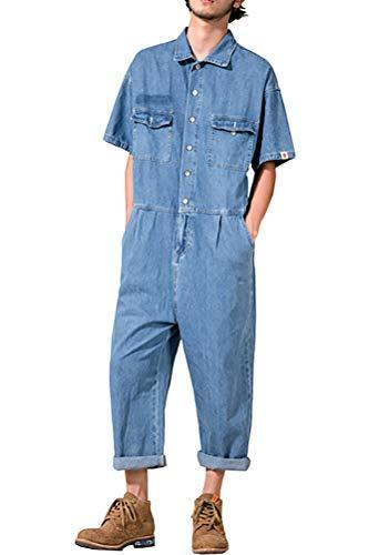 [해외]소 콜 너무 남자의 발목 길이 느슨한 짧은 소매 데님 작물 점프 슈트 / Sokotoo Men`s Ankle Length Loose Short Sleeves Denim Crop Jumpsuits